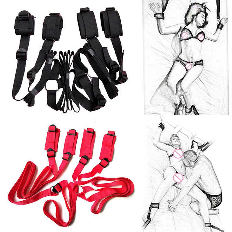 大人の大人のおもちゃの下で緊縛ボンデージギア拘束システムフェチセックスゲームセット手首 & 足首の袖口セックス製品