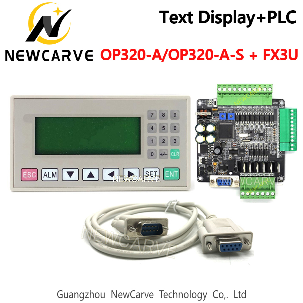 OP320-A OP320-A-S Text Display Industrial Control Board And FX3U 14/24/48/56 PLC With DB9PIN Communication Cable NEWCARVE