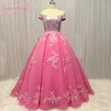 real picture prom dresses 2020 sparkly sequins sweetheart pink lace appliques tulle floor length evening gowns