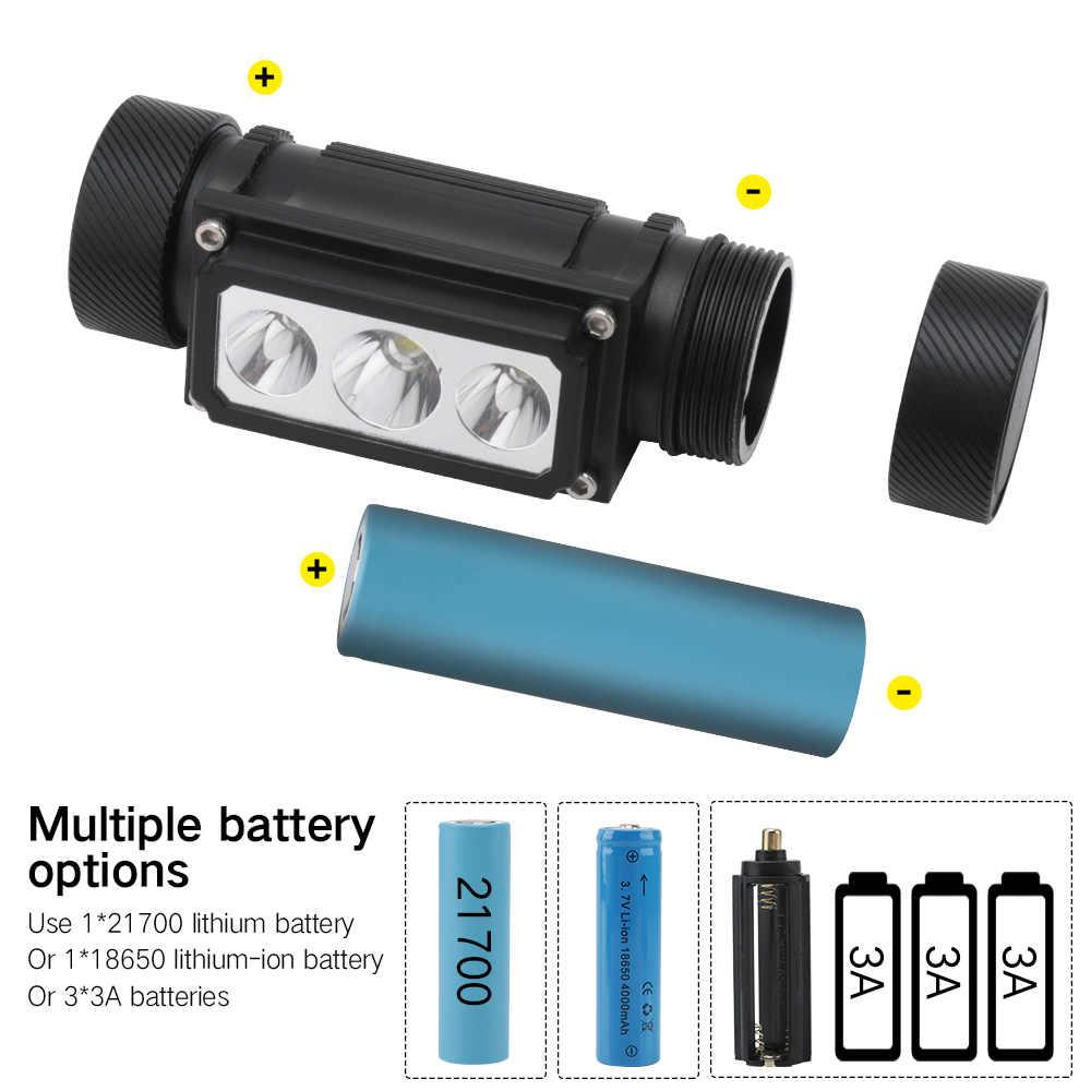 Borongan B39 Lampu Depan LED XM-L2 + 2 * XP-G2 Max.5000LM Lampu 21700/18650 TYPE-C Isi Ulang Kepala Obor Camping Berburu Senter