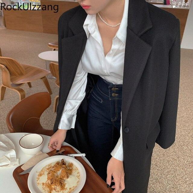 Long Sleeve Button Satin Silky Vintage Cream White Shirt Women Solid Blouse Fashion Blusas Fall Clothing Korean Sexy Office Lady 5