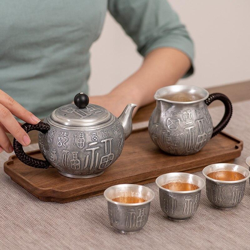 925 Sterling Silver Kettle Set Combination Sterling Silver 999 Tea Set Household Kung Fu Tea Set Handmade Silver Pot Cup