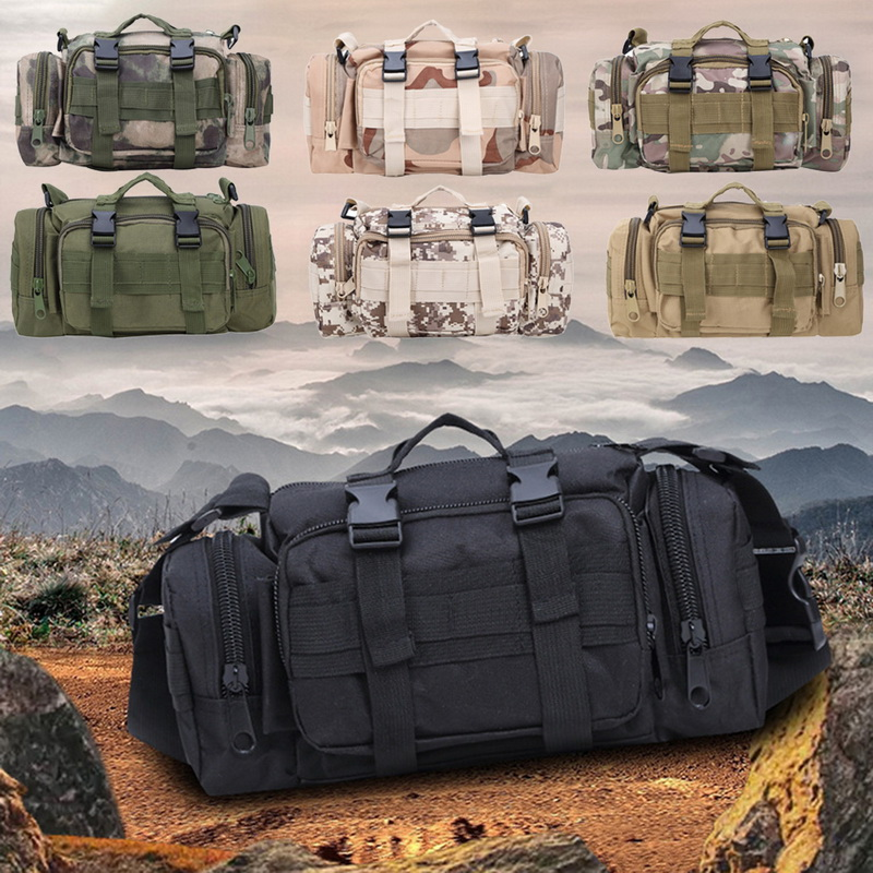 SHUJIN Tactical Waist Pack Deployment Bag Military Bicycle Motorcycle 3P Waterproof Fanny Packs Camera Bags Camo Utility Pouch