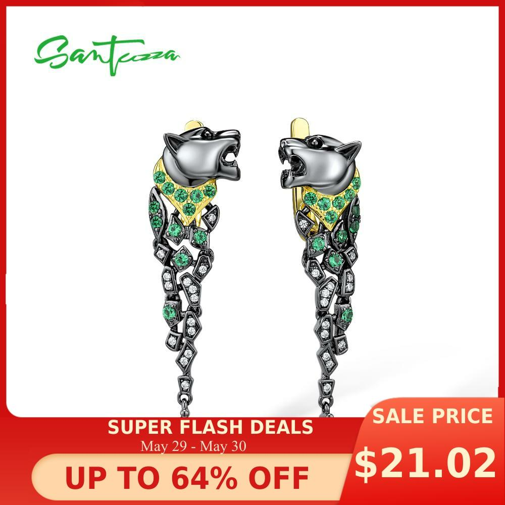SANTUZZA Silver Earrings For Women 925 Sterling Silver Black Color Leopard Sparkling Green Spinel Stunning Trendy Fine Jewelry