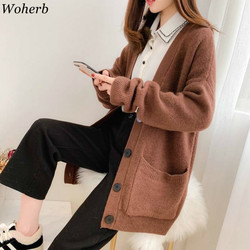 Woherb Black Knitted Sweater Women V Neck Long Sleeve Solid Color Cardigan Vintage Harajuku Casual Loose Tops Fashion New 90728 4