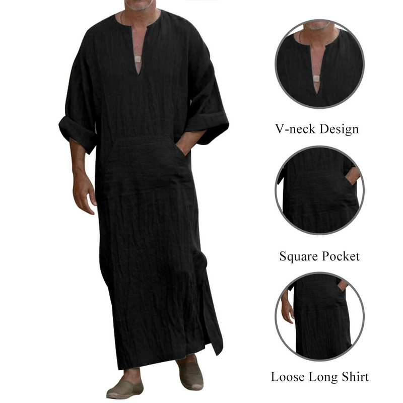 2020 Muslim Men's Shirt Plus Size 2019 Casual Loose Long Sleeves Male Pocket Arab Fashion Cotton And Linen Button Plain Robes