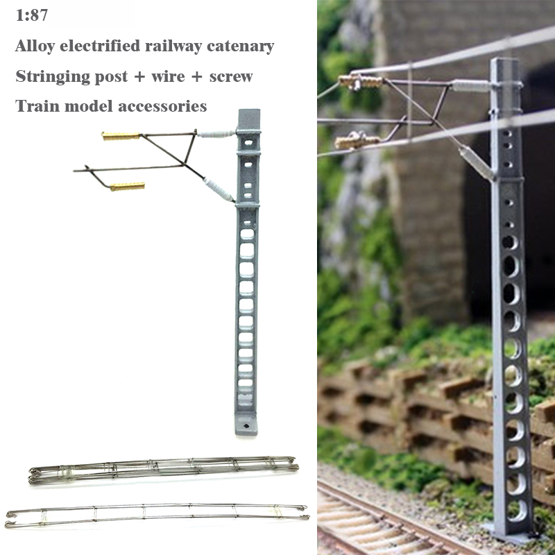 1:87  HO Ratio  Alloy Electrified Railway Catenary  Stringing Post + Wire + Screw  Train Model Accessories