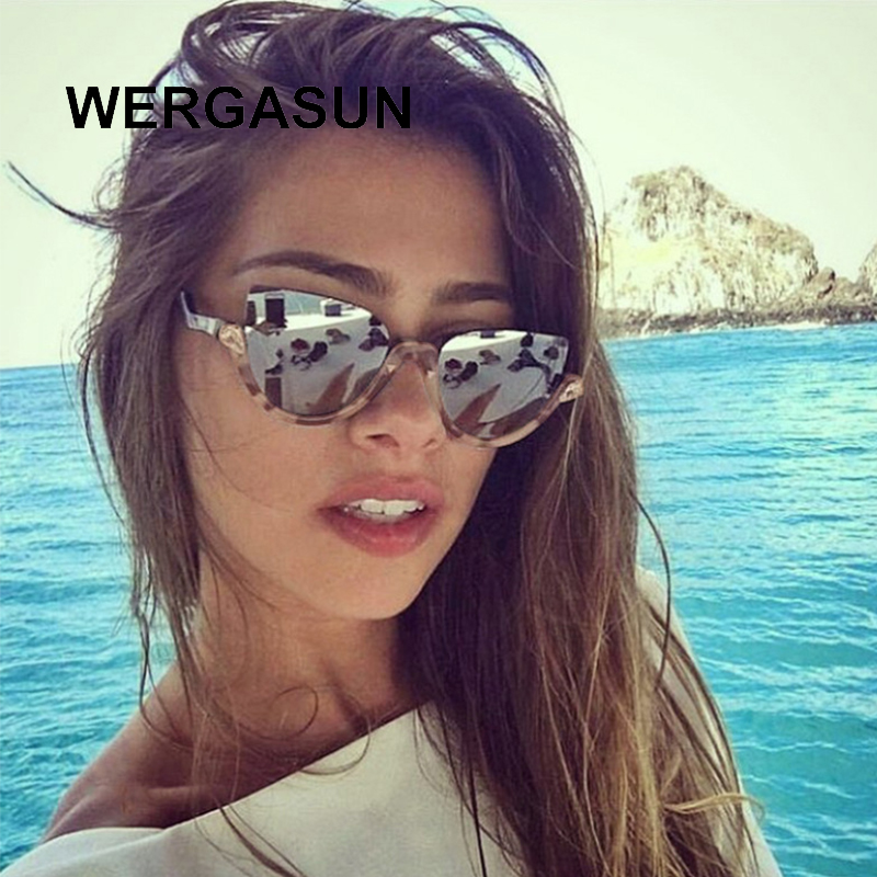 WERGASUN Half Frame <font><b>Cat</b></font> <font><b>Eye</b></font> <font><b>Sunglasses</b></font> Clear Lens Rhinestone Decoration Classic Sun Glasses Luxury <font><b>Brand</b></font> <font><b>Designer</b></font> <font><b>Sexy</b></font> Shades image