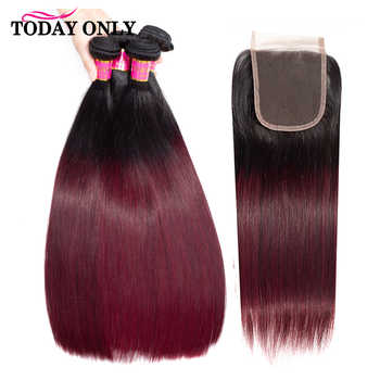 TODAYONLY Brazilian Straight Hair Bundles With Closure Blonde Brazilian Hair Weave Bundles Remy Human Hair Bundles With Closure - DISCOUNT ITEM  58% OFF All Category