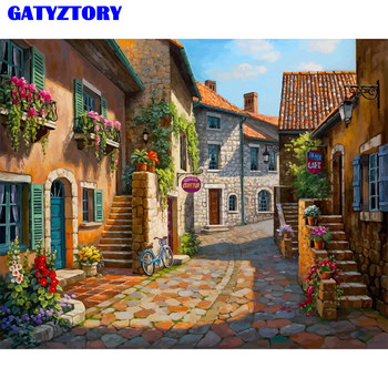 GATYZTORY Frame Picture Painting By Numbers Kit Street Diy Paint By Numbers Acrylic Paint On Canvas Handpainted Oil Painting Art rihe garden flower diy painting by numbers abstract house oil painting on canvas cuadros decoracion acrylic wall picture art