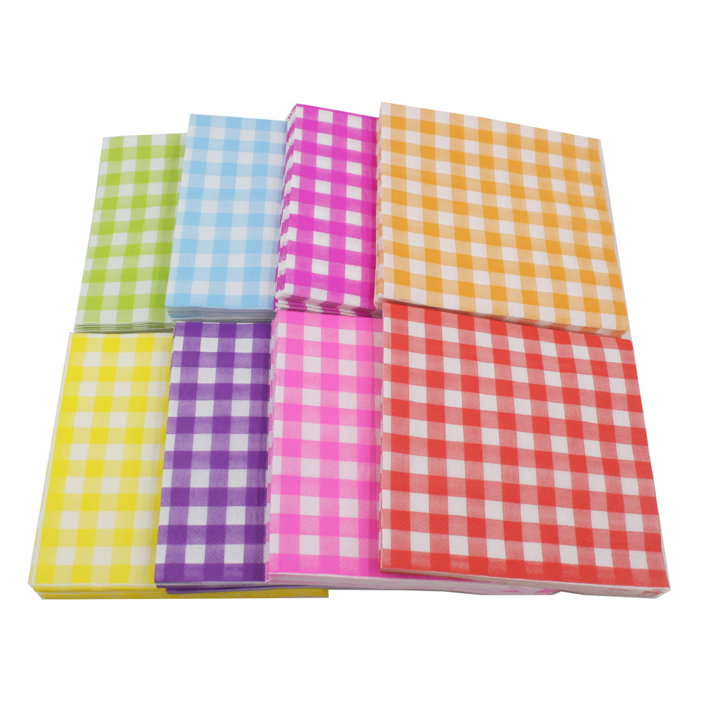 [] Multi-color Printed Napkin Plaid Creative Tissue Napkin 8-Color Selectable