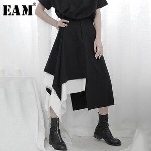 Женская ассиметричная Двухслойная юбка EAM, черная Двухслойная юбка с высокой талией, 1T666, на весну-осень 2020