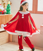 Santa Costume for Girls Child Christmas Dress Match with Shorts and Hat Halloween Cosplay Party Outfit Cute Snowball Dress Girls