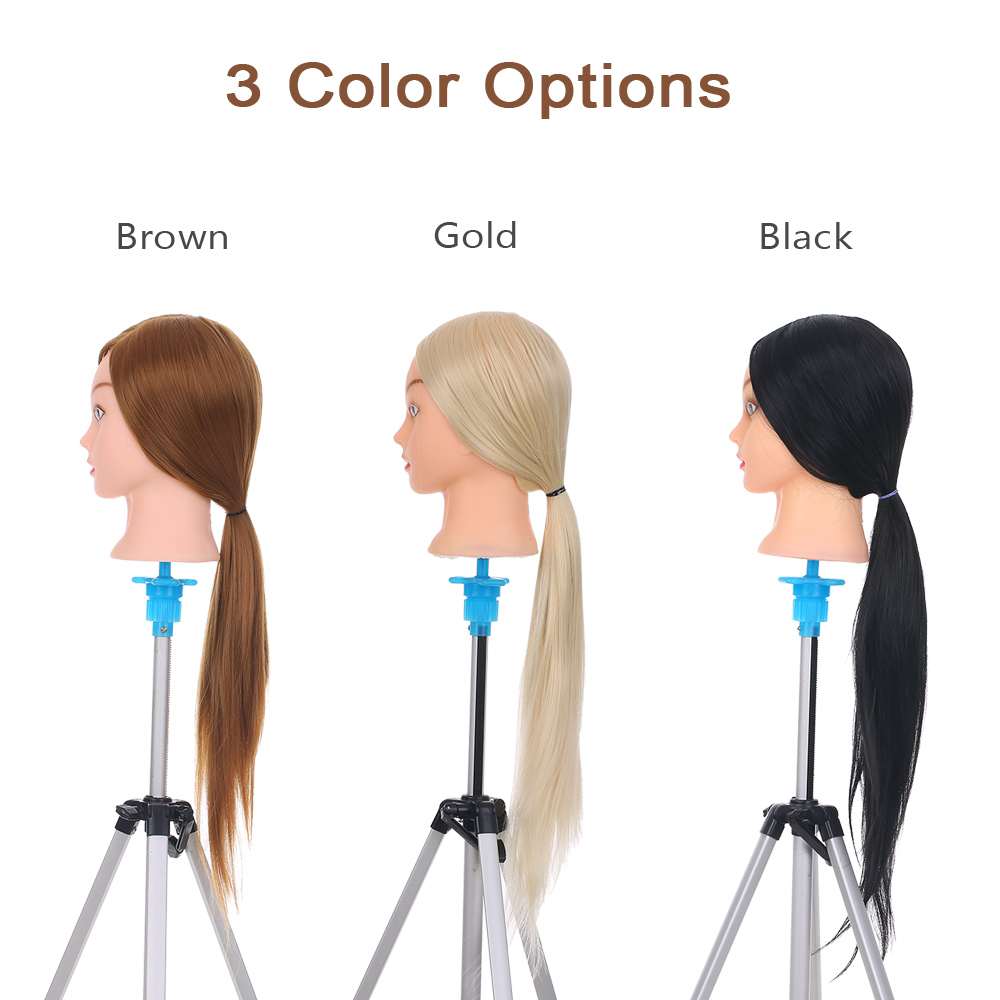 24'' Mannequin Head With Stand Cosmetology Dummy Head For Braiding Training Practice Salon Hairdressing Styling Manikin Head