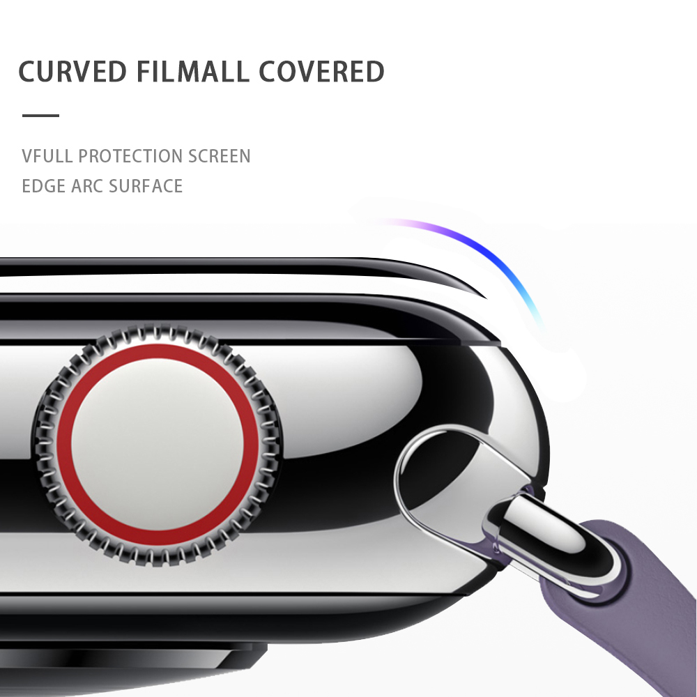 Curved Full Film For Apple Watch Series 5 4 3 2 1 Tempered Glass 3D Screen Protector For IWatch Cover Lense Band 40 44mm