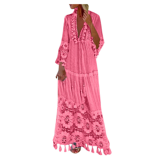 2021 Fashion dresses Casual outfits Bohemian Large Size V-Neck robe clothes Solid Color Lace Tassel Long dress New Design 4