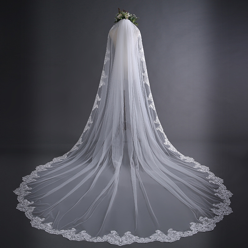 New Style 3 M Veil Simple Europe And America Long Trailing Wedding Dress Veil Top Grade Lace