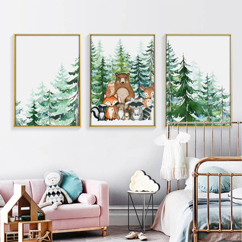 Fox Deer Bear Nordic Baby Posters Woodland Animals Nursery Art Painting Tree Canvas Print Wall Picture For Kids Boy Room Decor black white baby animal rabbit tail canvas art print and poster nursery bunny canvas painting for kids room nordic wall decor