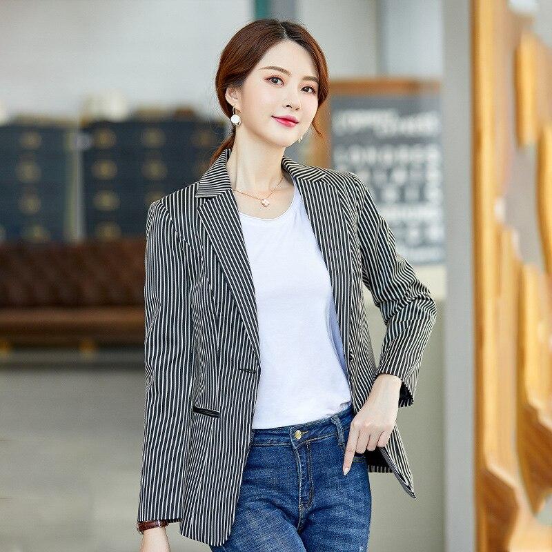 High quality elegant lady interview jacket small suit feminine 2020 New Slim Stripe Ladies Blazer Coat Female office jacket