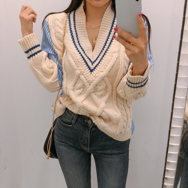 Ailegogo 2020 Autumn Winter Women's Sweaters Patchwork Srtiped V-Neck pullover Stylish Knitted Korean Female Jumpers SW1703 1