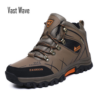 Vastwave Men Hiking Boots Warm Super Men High Quality Waterproof Leather Winter Snow Boots Sneakers Outdoor Male Work Shoes