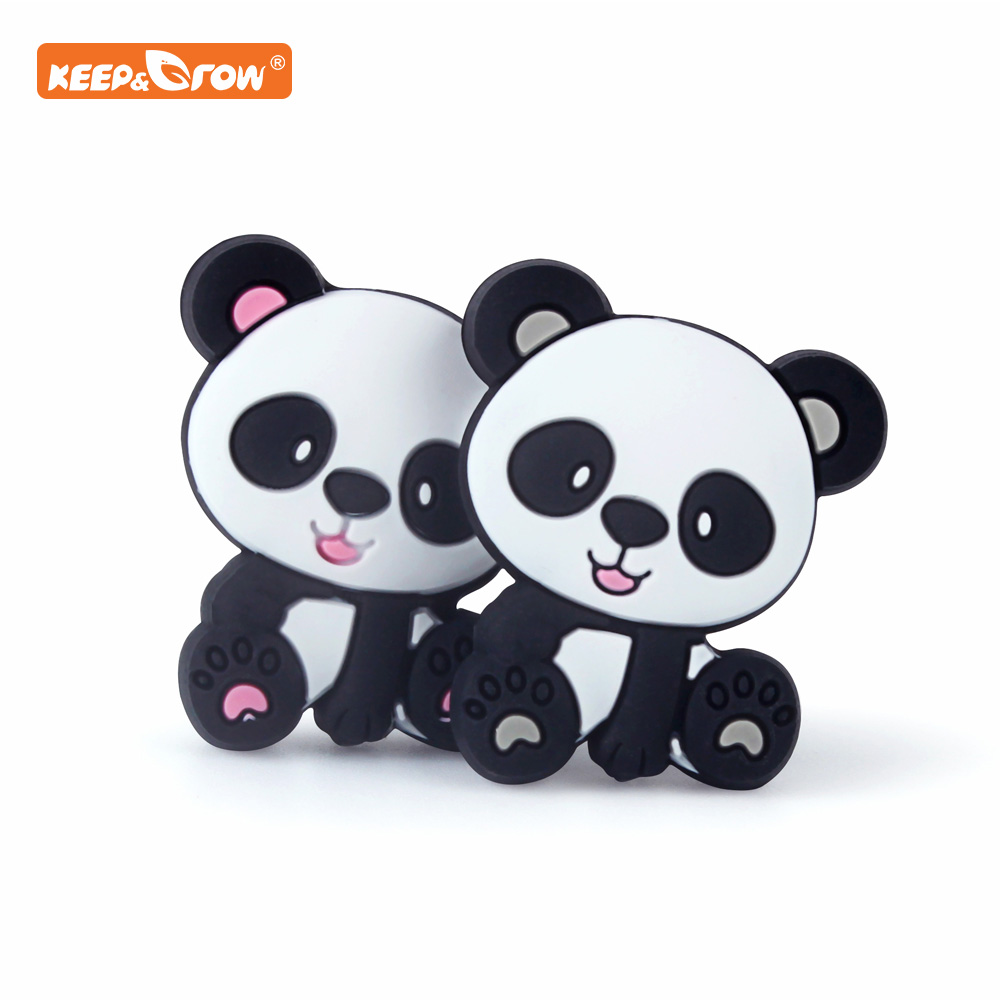 Keep&grow 10Pcs Panda Silicone Beads Baby Products Teething Toys For DIY Jewelry Making BPA Free Mordedor Silicone Beads