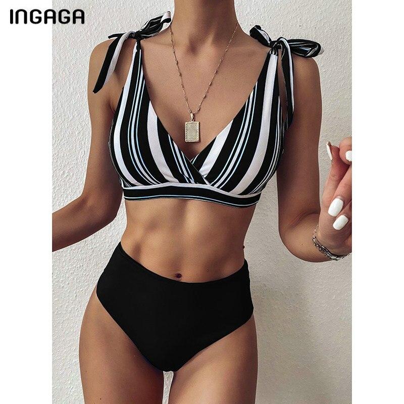 INGAGA, Bikinis de cintura alta, bañadores 2020, bañador para mujer, Top envolvente, Biquini, ropa de playa, trajes de baño con lazo, conjunto de Bikini a rayas