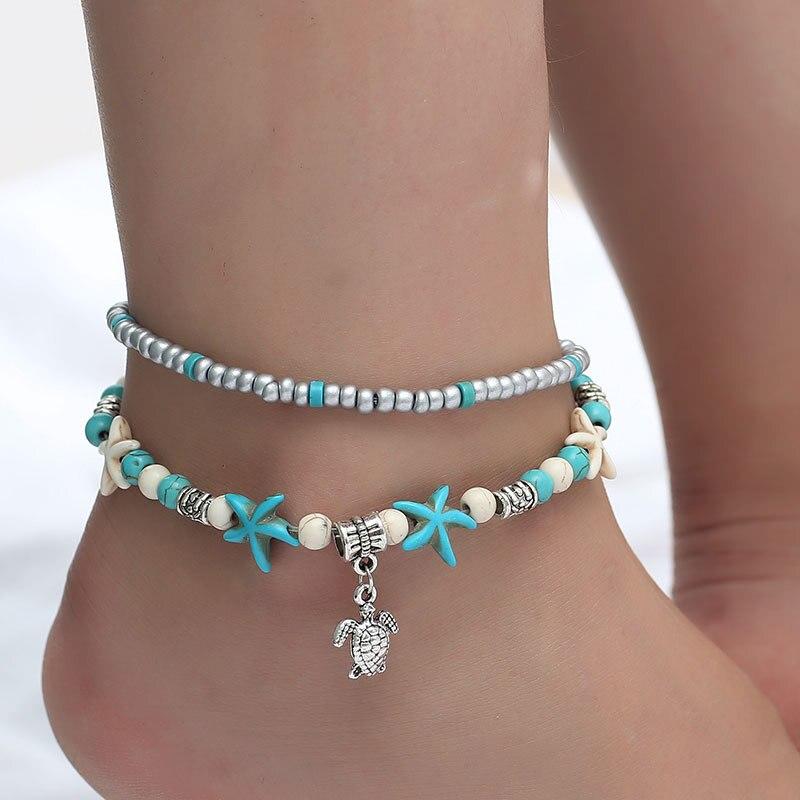 Boho Style Ankle Bracelet Bohemia Sea Turtle Starfish Charms Beach Anklet Shell For Women handmade leg bracelet Jewelry JL06