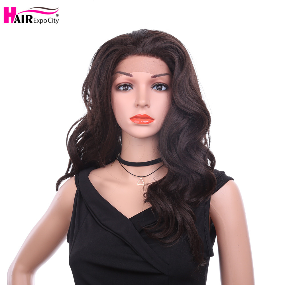 26inch Long Wavy Wig Synthetic Lace Front Wig For Black Women Heat Resistant Cosplay Wig Ombre Brown Grey Hair Expo City