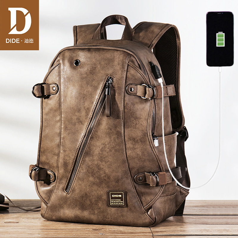 DIDE USB Charging Anti Theft Leather School Backpack Bag For Teenager Fashion Male Waterproof Travel Laptop Backpack Men