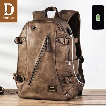 цена на DIDE USB Charging Anti theft Leather School Backpack Bag For teenager fashion male Waterproof travel laptop backpack Men