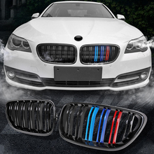 A Pair 2013-2018 4 Series ABS Gloosy Black Dual Line Front Grills for Bmw F32 F33 F36 F82 F83 Car Accessories f32 f33 f36 f80 f82 f83 abs carbon fiber racing grille for bmw 4 series m3 m4 front grill gloss black m color 2 slat grills