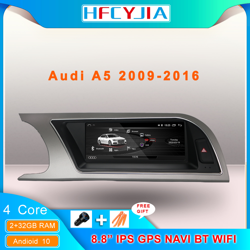 Android 10 System Car GPS Navi Screen For Audi A5 2009-2016 IPS Touch 2+32G RAM WIFI Google Carplay BT Multimedia Stereo