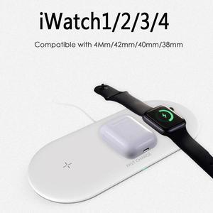 Image 3 - Airpower 3 em 1 10W Titular Carregador Sem Fio Pad Qi Carregador Sem Fio para Apple Relógio 4 3 2 1 para telefones móveis Carregador Rápido