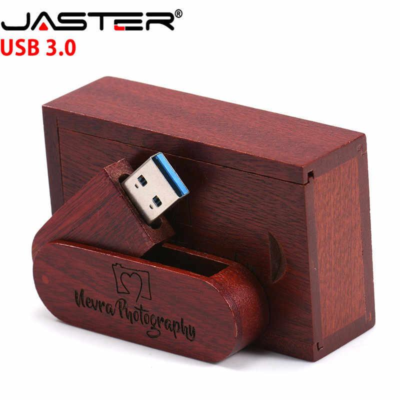 JASTER USB 3.0 ロゴカスタマイズされた回転可能な木製の Usb フラッシュドライブペンドライブメモリスティックペンドライブ 4 ギガバイト 16 ギガバイト 32 ギガバイト 64 ギガバイト送料無料