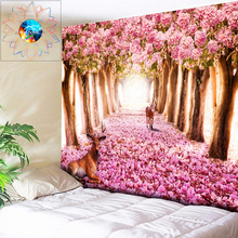 цена Bohemian Wall Tapestry Flowers Mandala Wall Hanging Pink Hippie Tapestry Psychedelic Dorm Decor Elk Animal Bedspread Wall Cloth