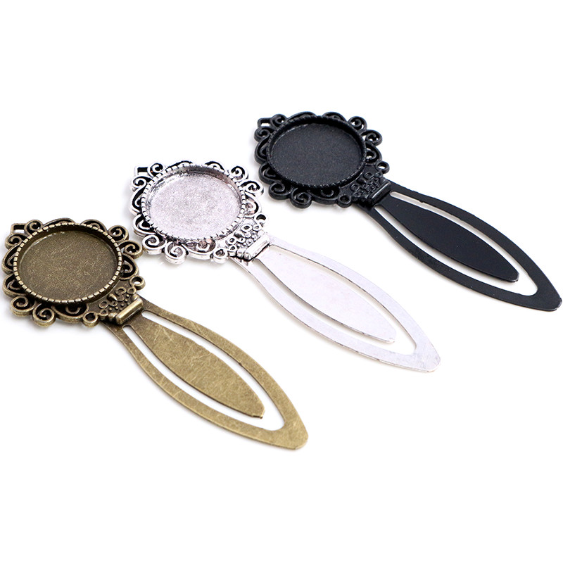 New Fashion 2pcs 20mm Inner Size Antique Silver Plated Bronze Black Simple Style Handmade Bookmark Cabochon Base Cameo Setting
