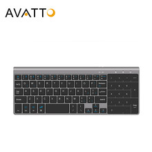 Avatto Ultradunne 2.4 Ghz Draadloze Multimedia Mini Toetsenbord Met Digtal Toetsenbord, Muis Touchpad Voor Windows, android, Ios, Pc Laptop(China)