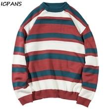 ICPANS Mens Pullovers Sweater Hip Hop Streetwear Stripe Kinttwear Kintting Sweaters Cotton Wool 2019 Winter Autumn Oversize