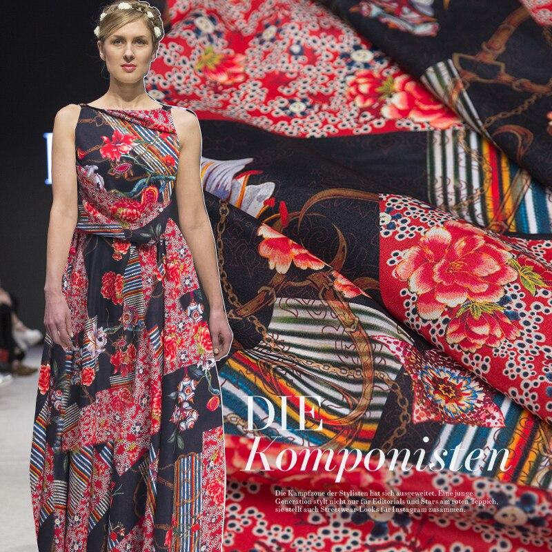 50cm Youth Digital Printed Silk Crepe De Chine Fabric DIY Handmade Dress Shirt Silk Fabric European And American Popular Fabric