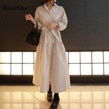 RealShe 2019 Dress Vintage Women Lapel Buttons Long Sleeve Ladies Spring Autumn Elegant Casual Dresses Vestidos