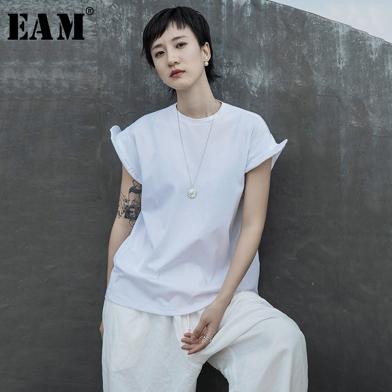 [EAM] Women White Fold Shaped Split Joint Big Size T-shirt New Round Neck Short Sleeve  Fashion Tide  Spring Summer 2020 1S683