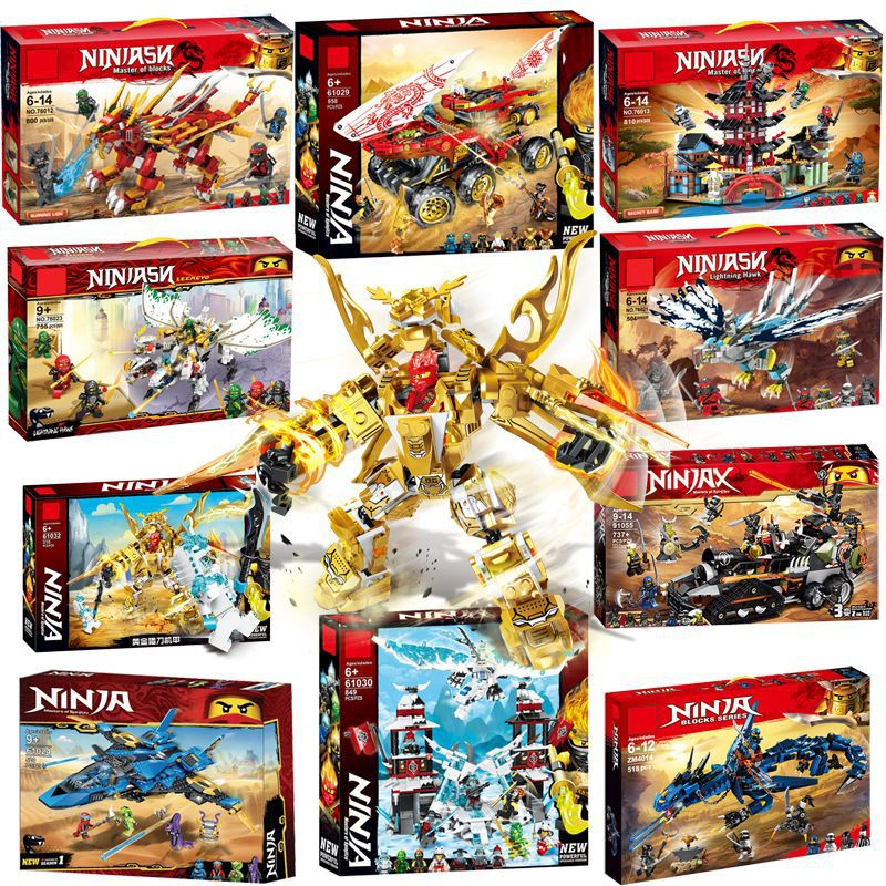 New 318pcs Ninja Golden Mecha Model Building Blocks Compatible  Ninjagoes Kids Toy Bricks