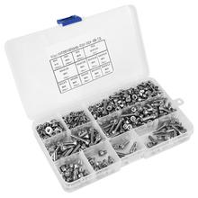 662PCS/set  Screw Set 304 Stainless Steel Cylinder + Flat/Elastic Washer Nut tornillos para madera