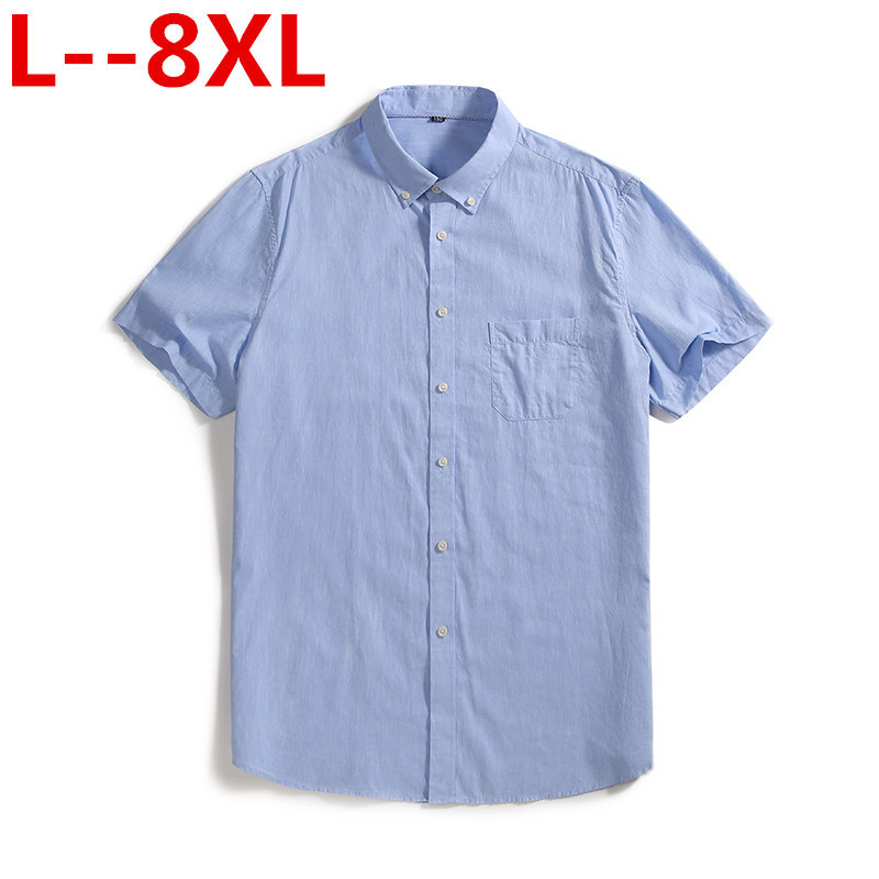 Plus 8XL 6XL 5XL 4XL Pure Cotton Solid Striped Dobby Turn Down Collar Short Sleeve Non-iron Summer Comfortable Men Formal Shirts