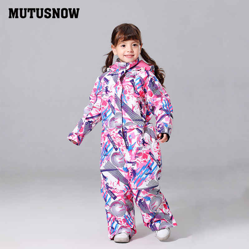 2019 MUTUSNOW Jacket Girls Ski Suit Kids Children Snowboard Suit VelvetWindproof Waterproof Thermal Outdoor Sport Wear One Piece