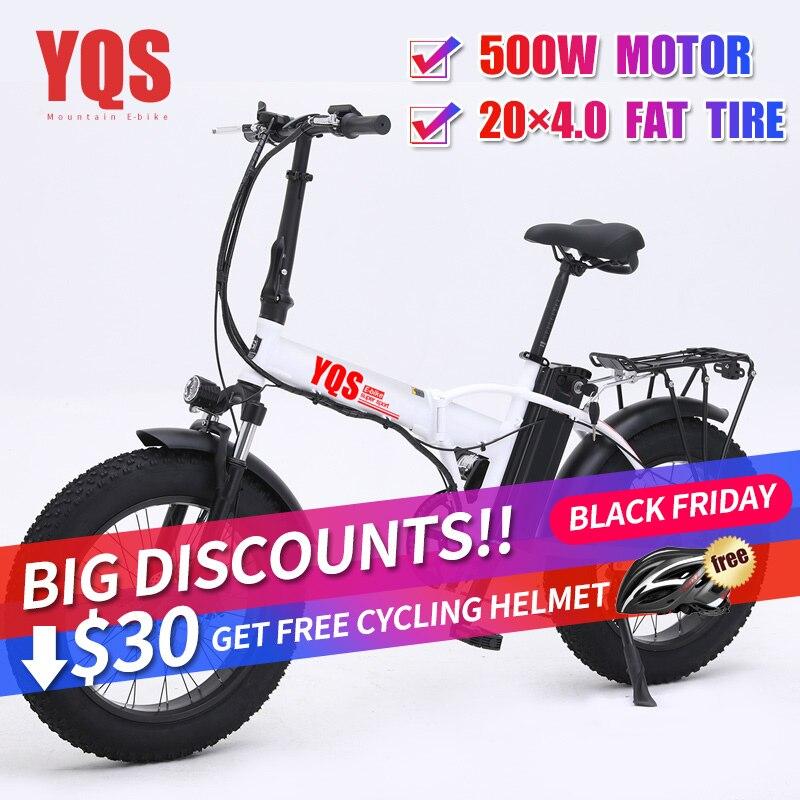 YQS nouveau 500W neige montagne vélo électrique 20 pouces 4.0 gros pneu ebike plage vélo électrique moto