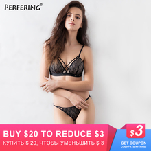 Perfering Sexy Lace 3/4 Cup Bra Sets For Women Wireless Thin Cotton Breathable Comfortable Underwear Solid color Lingerie Set