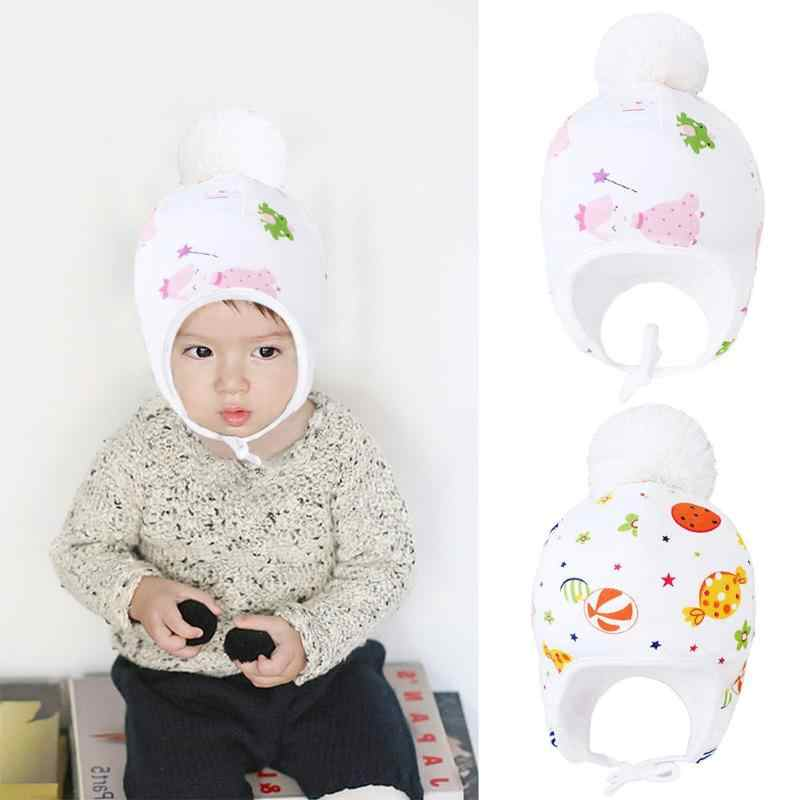 Baby Winter Warm Fleece Hat Newborn Pompom Cute Cotton Aircraft Car Adjustable Elasticity of Tie Printed Kids Boy Girl Cap