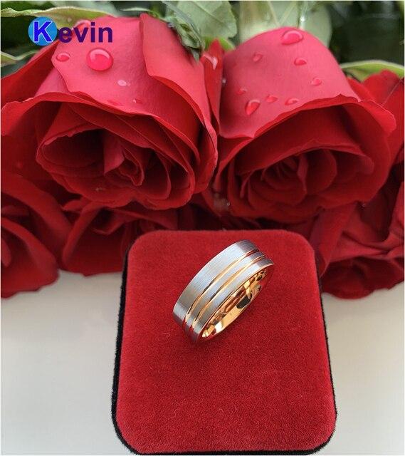 Женские и мужские кольца из розового золота кольцо карбида вольфрама